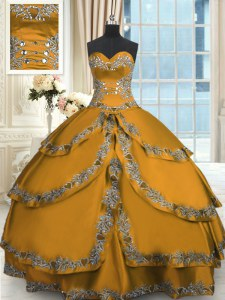 Beading and Embroidery and Ruffled Layers Quince Ball Gowns Gold Lace Up Sleeveless Floor Length