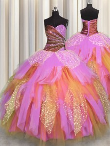 Multi-color Ball Gowns Sweetheart Sleeveless Tulle Floor Length Lace Up Beading and Ruching Sweet 16 Quinceanera Dress