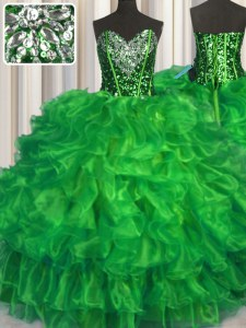 Fabulous Ball Gowns Organza Sweetheart Sleeveless Beading and Ruffles Floor Length Lace Up Quinceanera Gowns