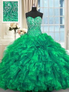 Trendy Turquoise Sleeveless Brush Train Beading and Ruffles Ball Gown Prom Dress