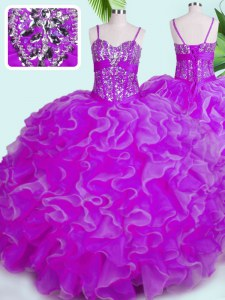 Floor Length Fuchsia Quinceanera Gowns Organza Sleeveless Beading and Ruffles
