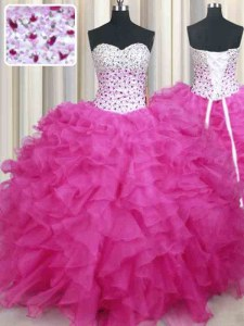 Custom Made Hot Pink Organza Lace Up Halter Top Sleeveless Floor Length Quinceanera Gowns Beading and Ruffles