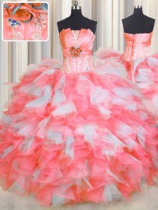 Strapless Sleeveless Organza Quince Ball Gowns Beading and Ruffles and Hand Made Flower Lace Up
