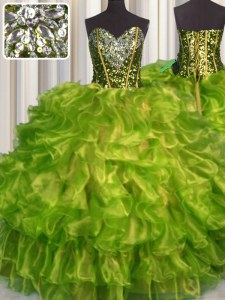 Beading and Ruffles Quinceanera Gown Olive Green Lace Up Sleeveless Floor Length