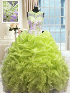 Customized Scoop Sleeveless Floor Length Beading and Ruffles Zipper Quinceanera Gown with Yellow Green