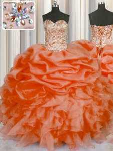 Enchanting Beading and Ruffles and Pick Ups Quinceanera Gowns Orange Red Lace Up Sleeveless Floor Length
