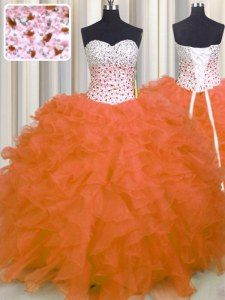 Beauteous Beading and Ruffles Sweet 16 Dresses Orange Red Lace Up Sleeveless Floor Length