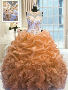 Cute Scoop Orange Sleeveless Beading and Ruffles Floor Length Quinceanera Gown