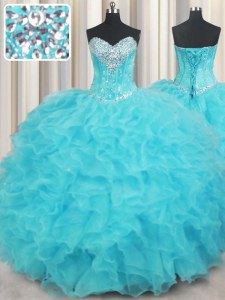 Elegant Sleeveless Floor Length Beading and Ruffles Lace Up Sweet 16 Quinceanera Dress with Aqua Blue