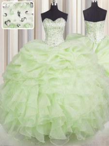 Nice Sleeveless Beading and Ruffles Lace Up Sweet 16 Quinceanera Dress