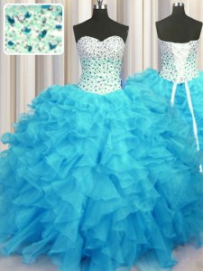 Floor Length Baby Blue Quinceanera Dresses Sweetheart Sleeveless Lace Up