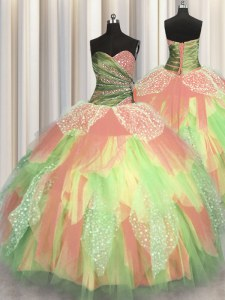 Hot Selling Multi-color Sweet 16 Quinceanera Dress Military Ball and Sweet 16 and Quinceanera and For with Beading and Ruching Sweetheart Sleeveless Lace Up