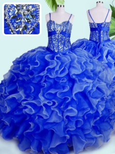 Fancy Blue Ball Gowns Spaghetti Straps Sleeveless Organza Floor Length Lace Up Beading and Ruffles Sweet 16 Dresses