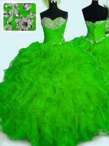 Noble Organza Sweetheart Sleeveless Lace Up Beading and Ruffles Quinceanera Dress in