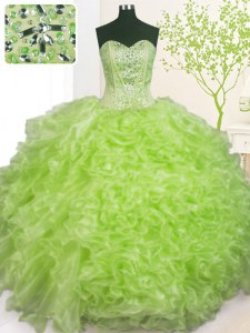 Sweetheart Sleeveless Organza Vestidos de Quinceanera Beading and Ruffles and Pick Ups Lace Up