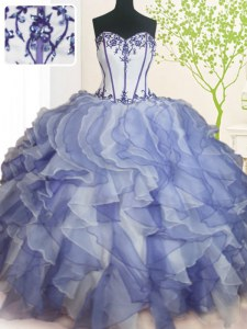 Custom Designed Sweetheart Sleeveless Vestidos de Quinceanera Floor Length Beading and Ruffles Blue And White Organza