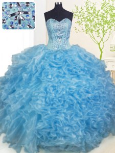 Excellent Baby Blue Sleeveless Beading and Ruffles and Pick Ups Floor Length 15 Quinceanera Dress