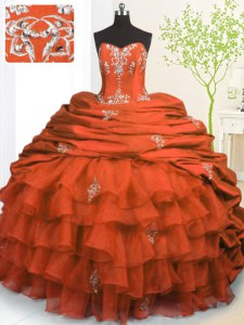 Organza and Taffeta Strapless Sleeveless Brush Train Lace Up Beading and Appliques and Ruffled Layers and Pick Ups Quinceanera Gown in Orange Red