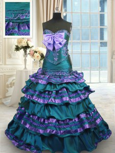 Modern Ruffled Layers Peacock Green Vestidos de Quinceanera Sweetheart Sleeveless Sweep Train Lace Up
