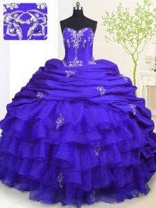 Chic Royal Blue Organza and Taffeta Lace Up Ball Gown Prom Dress Sleeveless With Brush Train Beading and Appliques and Ruffled Layers and Pick Ups