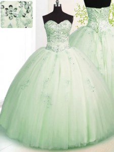 Glorious Apple Green Sweetheart Neckline Beading and Appliques Quinceanera Gowns Sleeveless Lace Up