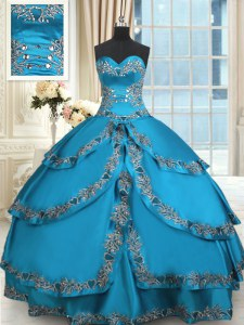 Blue Lace Up 15th Birthday Dress Beading and Embroidery and Ruffled Layers Sleeveless Floor Length