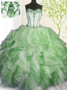 Custom Designed Green Sweetheart Lace Up Beading and Ruffles Sweet 16 Dresses Sleeveless