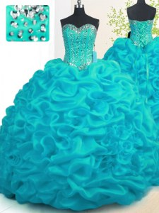 Aqua Blue Sleeveless Brush Train Beading and Ruffles With Train Quinceanera Gowns