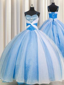Gorgeous Spaghetti Straps Beading and Sequins and Ruching 15 Quinceanera Dress Baby Blue Lace Up Sleeveless Floor Length