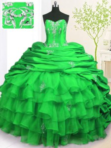 Flare Green Sleeveless Brush Train Beading and Appliques and Ruffled Layers and Pick Ups With Train Quinceanera Gowns