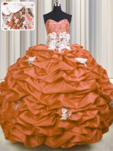 Glamorous Orange Red Lace Up Sweetheart Appliques and Sequins and Pick Ups Quinceanera Dresses Taffeta Sleeveless Brush Train