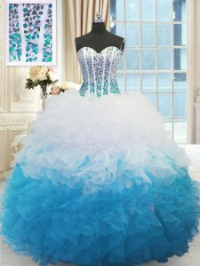 Romantic Blue And White Ball Gowns Organza Sweetheart Sleeveless Beading and Ruffles Floor Length Lace Up Sweet 16 Dresses