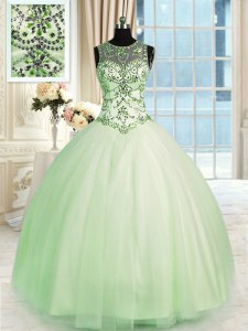 Popular Floor Length Apple Green Sweet 16 Dresses Scoop Sleeveless Lace Up