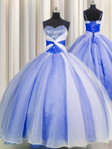 Stunning Spaghetti Straps Floor Length Lace Up Sweet 16 Quinceanera Dress Blue And White for Military Ball and Sweet 16 and Quinceanera with Beading and Sequins and Ruching