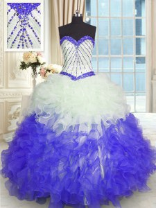 Elegant Organza Sleeveless Floor Length Quinceanera Gowns and Beading and Ruffles
