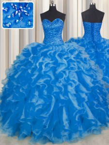 Noble Floor Length Blue Ball Gown Prom Dress Organza Sleeveless Beading and Ruffles