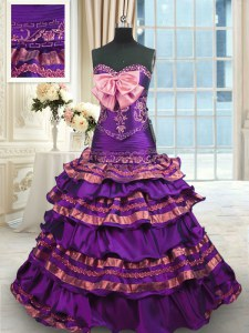 Nice Taffeta Sweetheart Sleeveless Brush Train Lace Up Appliques and Ruffled Layers and Bowknot Sweet 16 Quinceanera Dress in Purple