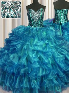 Sexy Floor Length Teal Sweet 16 Quinceanera Dress Organza Sleeveless Beading and Ruffles