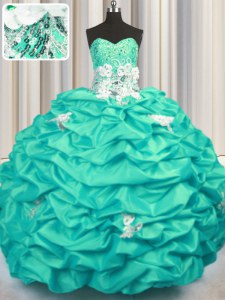 Sweetheart Sleeveless Taffeta 15 Quinceanera Dress Appliques and Sequins and Pick Ups Brush Train Lace Up