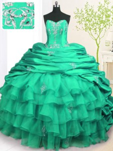 Turquoise Organza and Taffeta Lace Up Sweet 16 Dresses Sleeveless With Brush Train Beading and Appliques and Ruffled Layers and Pick Ups
