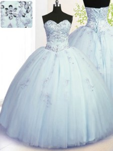 Shining Beading and Appliques 15th Birthday Dress Light Blue Lace Up Sleeveless Floor Length