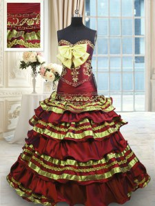 Sleeveless Taffeta Sweep Train Lace Up Sweet 16 Dress in Wine Red with Appliques and Embroidery and Ruffled Layers and Bowknot