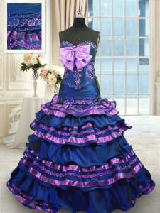Navy Blue A-line Appliques and Ruffled Layers and Bowknot 15th Birthday Dress Lace Up Taffeta Sleeveless