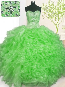 Lace Up Sweetheart Beading and Ruffles and Pick Ups Quinceanera Dresses Organza Sleeveless