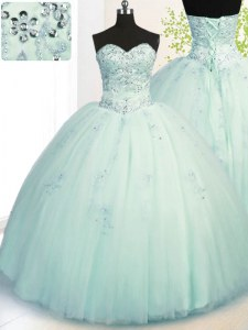 Apple Green Lace Up Vestidos de Quinceanera Beading and Appliques Sleeveless Floor Length