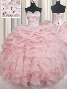 Baby Pink Sweetheart Neckline Beading and Ruffles Sweet 16 Dresses Sleeveless Lace Up