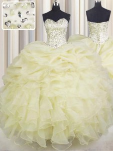Perfect Ball Gowns Sweet 16 Dress Light Yellow Sweetheart Organza Sleeveless Floor Length Lace Up