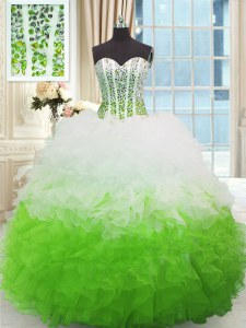 Sleeveless Organza High Low Lace Up Quinceanera Gown in Multi-color with Beading and Ruffles
