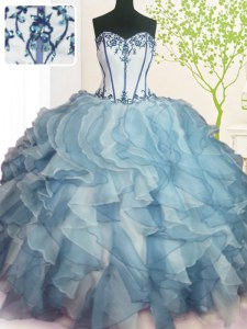 Multi-color Lace Up Sweetheart Beading and Ruffles Sweet 16 Dresses Organza Sleeveless