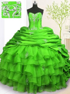 Customized Green Ball Gowns Beading and Appliques and Ruffled Layers and Pick Ups 15th Birthday Dress Lace Up Organza and Taffeta Sleeveless With Train
